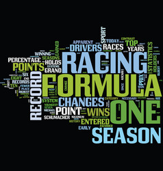 Formula one records show changes in sport text vector