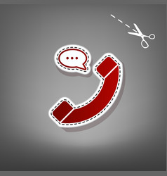 phone with speech bubble sign red icon vector image vector image