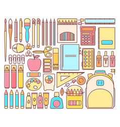 set of school supplies in modern flat vector image