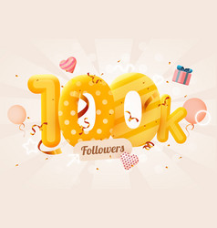 100k or 100000 followers thank you pink heart vector