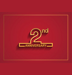 2 anniversary design with simple line style vector