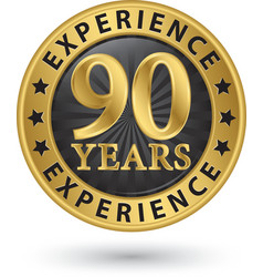90 years experience gold label vector