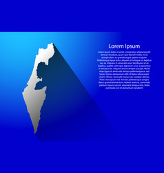 Abstract map of israel with long shadow on blue vector
