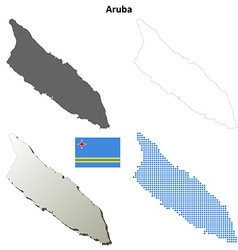 Aruba outline map set vector
