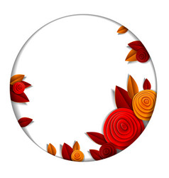 autumn flowers and leaves beautiful background or vector image