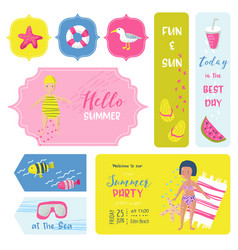 beach vacation childish tags fabric badges vector image