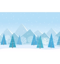 Beautiful Chrismas winter flat landscape vector