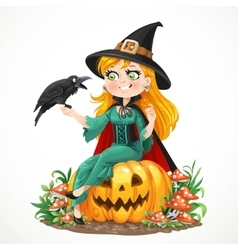 Beautiful witch sitting on a pumpkin and talks to vector