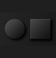 Black square and circle boxes isolated on grey vector