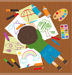 Boy draws on the floor vector