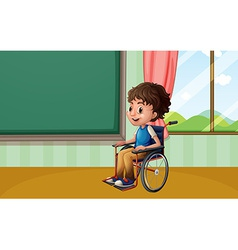 Boy on wheelchair vector