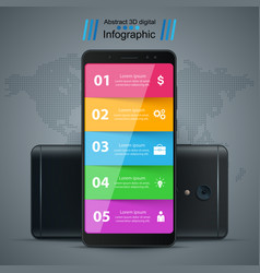 Business infographic smartphone realistic icon vector