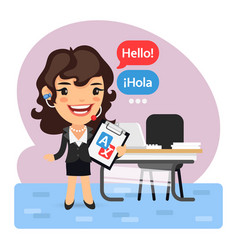 Cartoon businesswoman language translator vector
