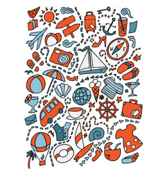 cartoon cute doodles hand drawn travel vector image