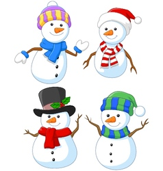 Cartoon happy snowman collection set vector