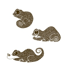 chameleons made in one color under the stencil vector image