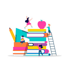 children playing books for education concept vector image