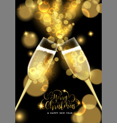 Christmas and new year champagne toast card vector