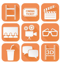 cinema icons set orange square signs with movie vector image