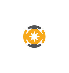 circle star bright technology logo vector image