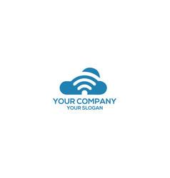 cloud internet wireless wifi logo design vector image