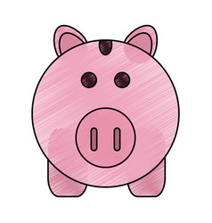 Color pencil cartoon pink piggy bank with dollar vector