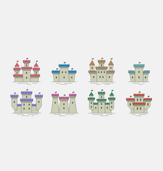 colorful castles and fortresses icons set vector image