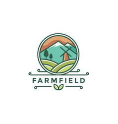 colorful farm landscape logo icon template vector image