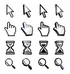 cursor hand arrow hourglass magnifying vector image