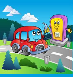 cute car at cartoon gas station vector image