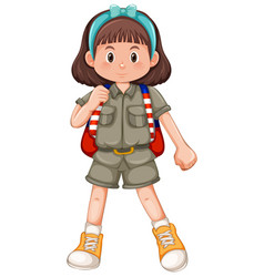 Cute girl scout with headband vector