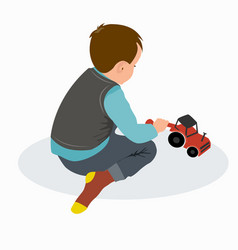 cute little baby boy playing with colorful car toy vector image