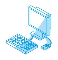 Desk computer 3d vector