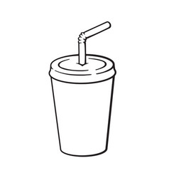 Doodle disposable paper cup with soda and straw vector