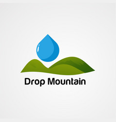 Drop green mountain logo icon element and vector