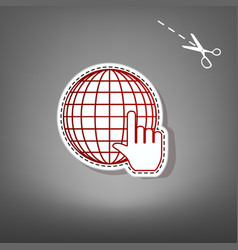 earth globe with cursor red icon with for vector image