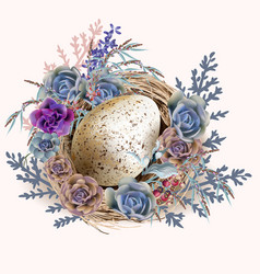 easter vintage greeting card with nest and eggs vector image
