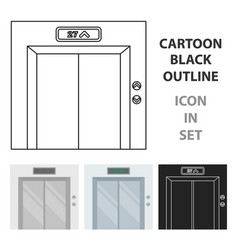 elevator icon in cartoon style isolated on white vector image