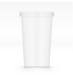empty clear plastic disposable cup with lid for vector image