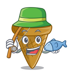Fishing empty wafer cone for ice cream character vector