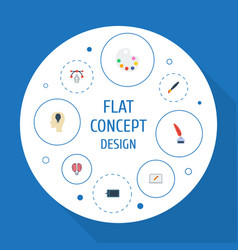 Flat icons idea bulb pencil and other vector