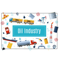 Flat oil industry concept vector