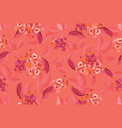 Floral pattern on coral color background vector