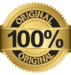 Golden 100 percent original label vector