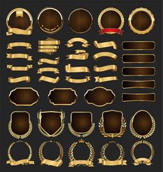 golden badges labels laurels and ribbons vector image