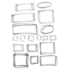Hand drawn felp-tip pen frames vector