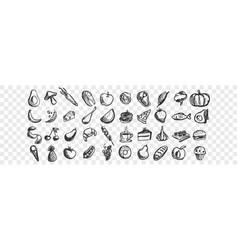 hand drawn food doodle set vector image