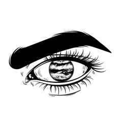Hand drawn realistic of human eye with planet vector