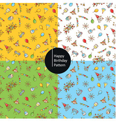 happy birthday icons pattern background vector image