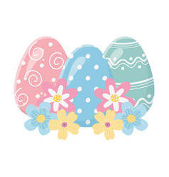 Happy easter day decorative painted eggs flowers vector